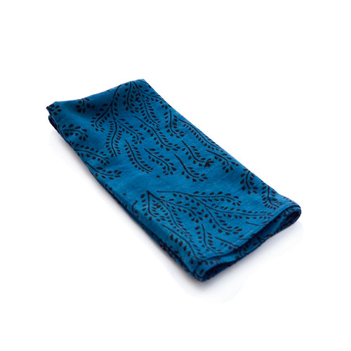 blue organic cotton napkins