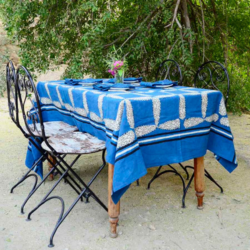 royal blue indian tablecloth
