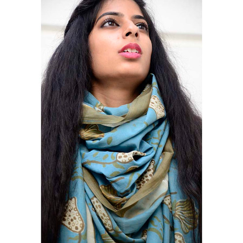 blue and green block print scarf