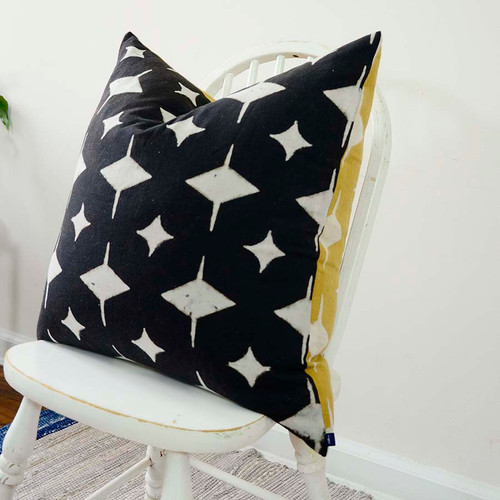 large 24 inch black white square cushion pillow
