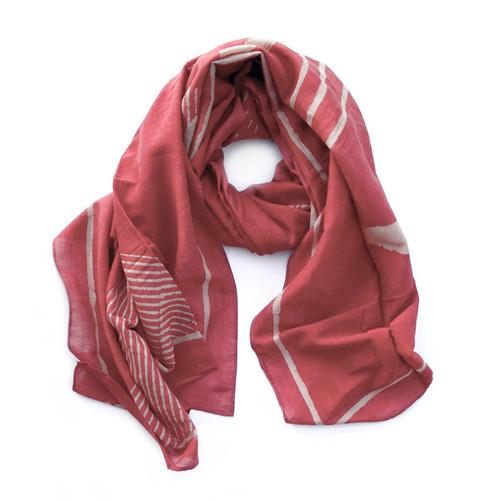 red-geometric-print-scarf