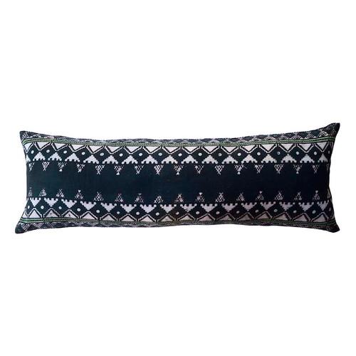 extra long block printed lumbar pillow