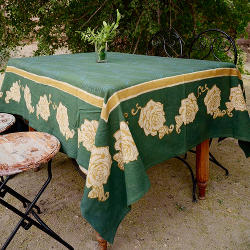 bohemian green tablecloth