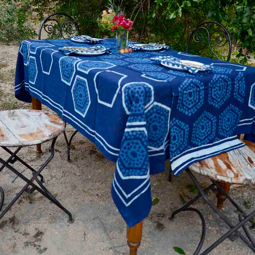 indigo blue block print table cloth