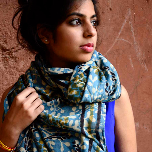 fall block print scarf