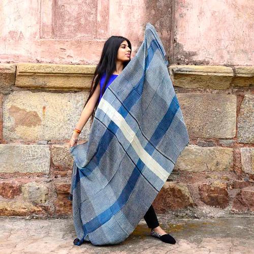 indigo block print scarf ichcha