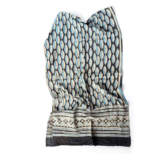 blue white black scarf