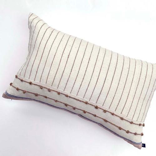 striped textured oblong throw pillow