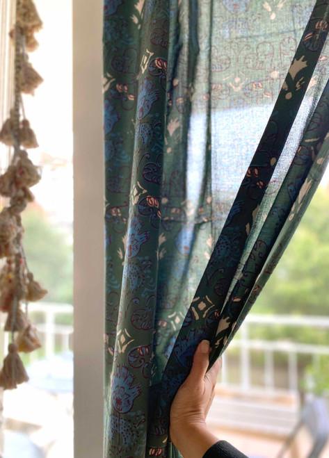 Deep green bohemian curtains