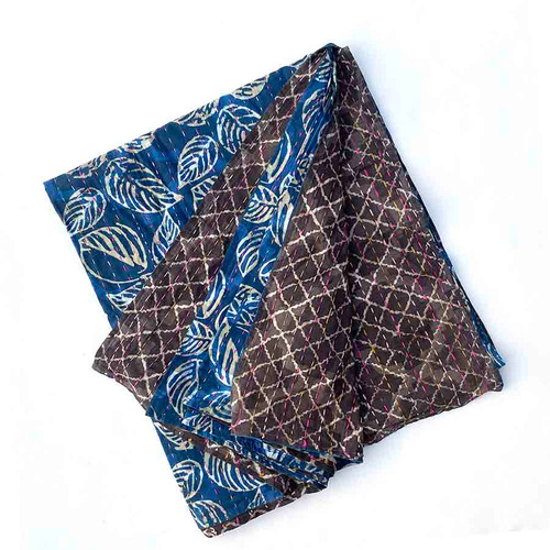 Leaves - Indigo Black Throw