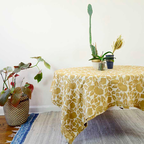Yan - Mustard Blockprint Tablecloth