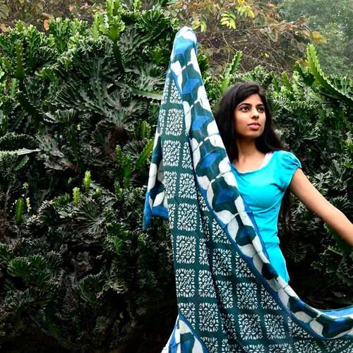 indigo blue scarf wrap