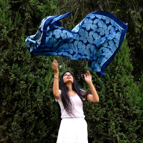 blue block print scarf