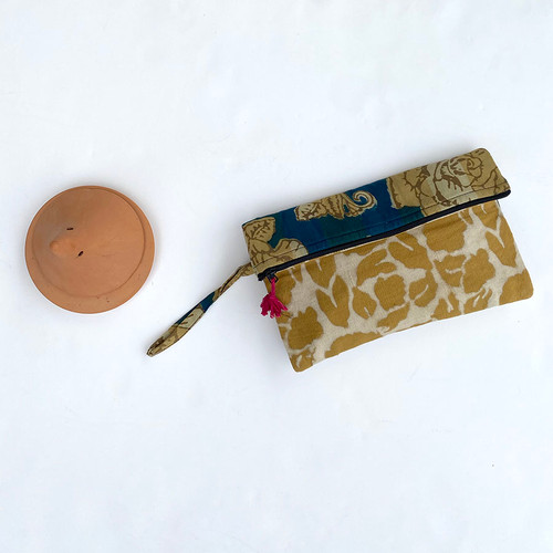 block printed purse