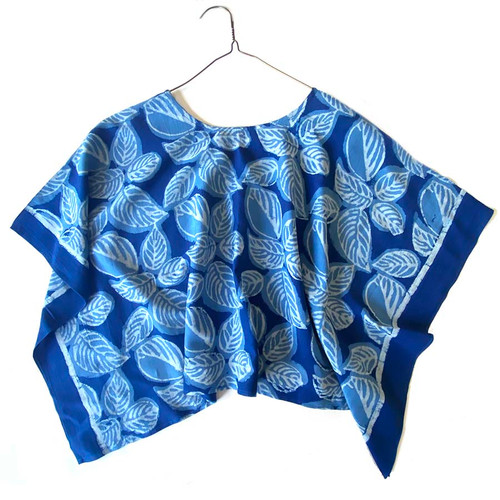 indigo blue block print top
