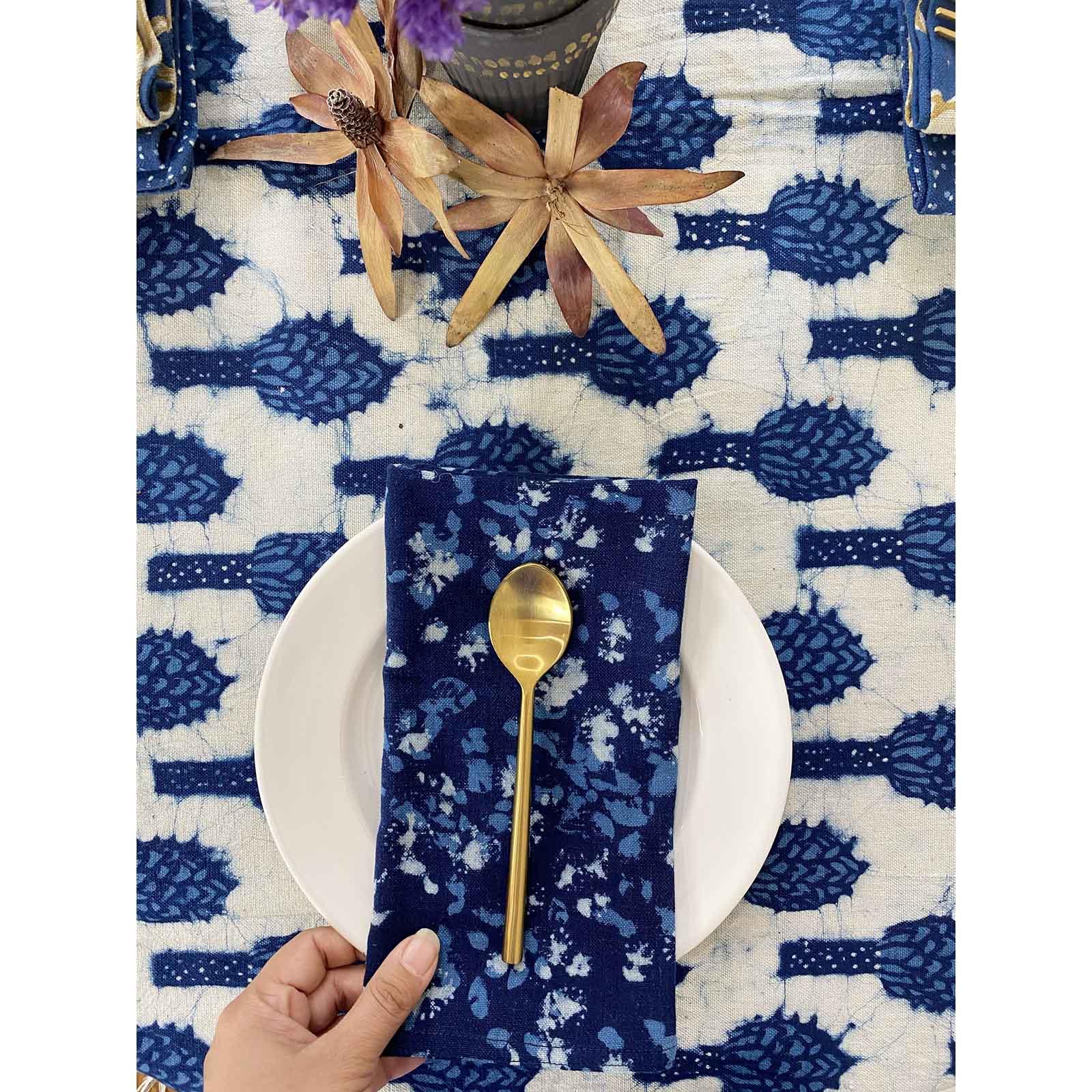 Nilampuri Blue And White Organic Cloth Napkins Ichcha