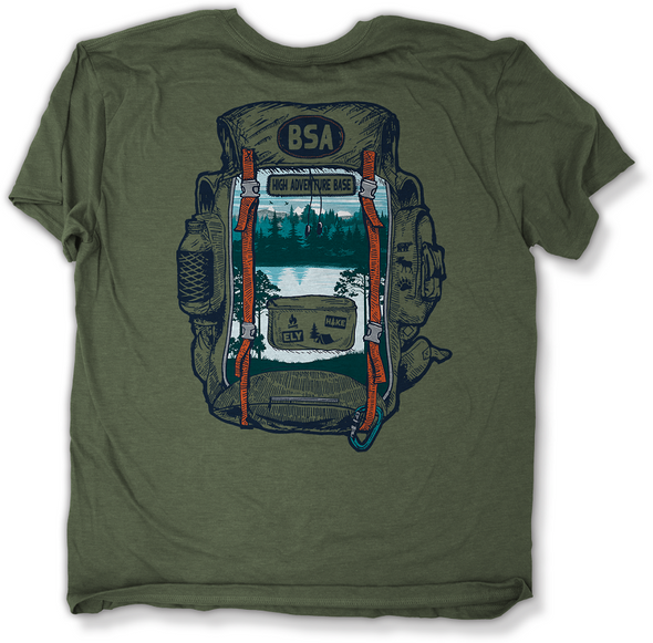 T-Shirt. Backpack Lake