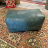 32 inch long rectangular leather upholstered patchwork ottoman in teal green finish