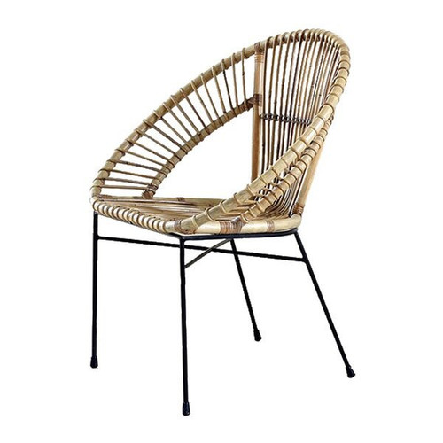 Modern Grey-Washed 'Trellis' Rattan Armchair From Indonesia with Iron Base