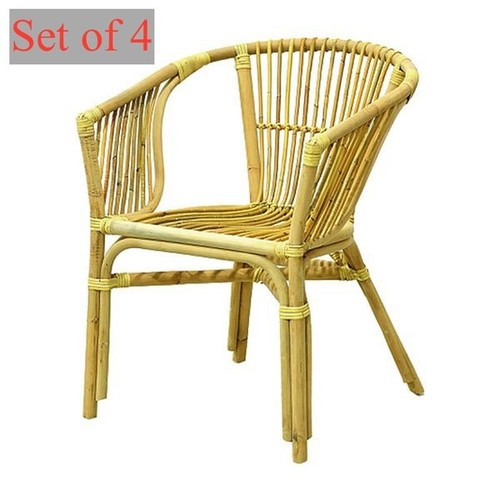 Set of 4 Organic Julia Rattan Armchair From Indonesia