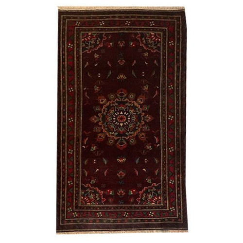 —3' 8 x 6' 11 Maroon, Red, Navy And Green Traditional Handknotted Baluchi Rug