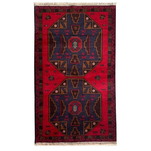 —2' 11 x 4' 10  Red, Blue, Brown and Green Traditional Handknotted Baluchi Rug