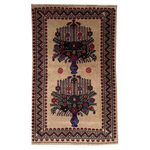 —3' 0 X 4' 8 Beige, Red And Blue Depiction Of Two Flower Vases Formal Small Baluchi Entry Carpet