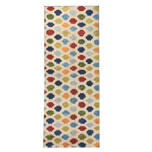 3' 1 X 9' 8 White And Multicolor Polkadot Moroccan Style Runner