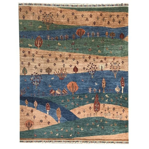 —4' 11 X 6' 5 Salmon Pink, Blue And Green Landscape Scene Finely Knotted Transitional 'Chobi' Style Knotted Carpet