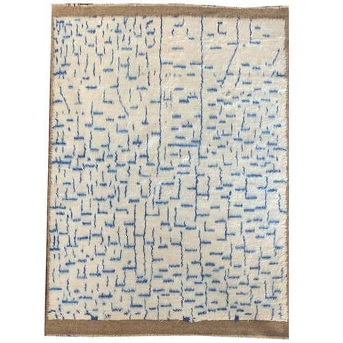 —5'6 X 8'0 White And Blue Low Pile Moroccan Style Contemporary Shag Carpet