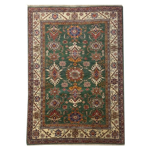 —5'7 X 7'10 Green, Beige And Red Transitional Geometric Finely Knotted Handmade Carpet