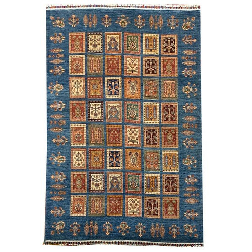—5'8 X 7'10 Beautiful Blue And Knotted Transitional Rug With Garden Pattern In Chobi Style