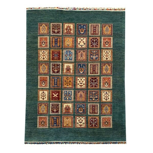 —5'5 x 7'9 Green and Multicolor Garden Pattern Tribal Handknotted Rug