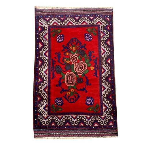 "—2'7""x4'6"" Hand Knotted Balochi Area Rug With Red Navy Cream Floral Geometric Pattern"