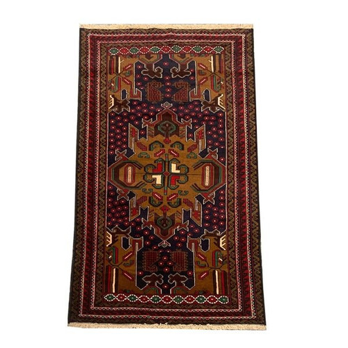 —3'7 X 6'9 Traditional Brown And Blue Handknotted Baluchi Rug