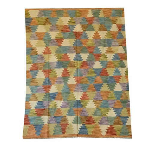 —5'6 X 7'10 Bright Colorful Multicolored All Wool Hand Woven And Reversible Kilim Rug