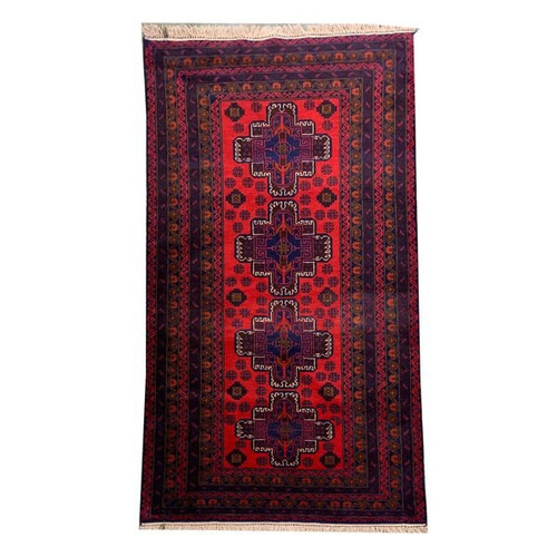 —3'7 X 6'9 Red Medallion Pattern Tribal Hand Knotted Carpet