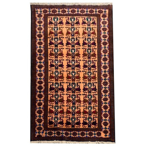 3'10 X 6'7 Salmon Red And Multicolor Tribal Hand Knotted Carpet