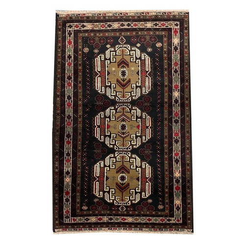 —3'6 X 6'10 Black, Beige And White Multicolored Medallion  Tribal Hand Knotted Carpet