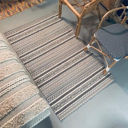 3' x 5' Rug Off-White and Black Batik Pattern Printed Cotton Small Rug, Carpet or Mat