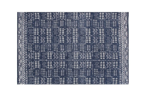 3' x 5' Rug Indigo Blue Batik Pattern Printed Cotton Small Rug, Carpet or Mat