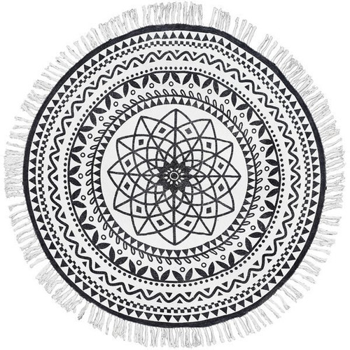 4' x 4' Round Rug Off-White and Black Batik Pattern Printed Cotton Small Rug, Carpet, or Tree Skirt