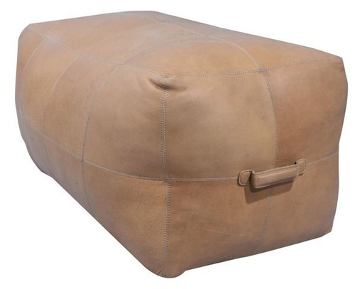 32 inch long rectangular leather upholstered patchwork ottoman in natural light brown finish