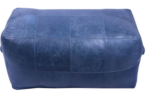 32 inch long rectangular leather upholstered patchwork ottoman in dark blue finish