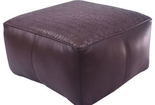 18 inch low square leather upholstered woven floor cushion in dark brown finish