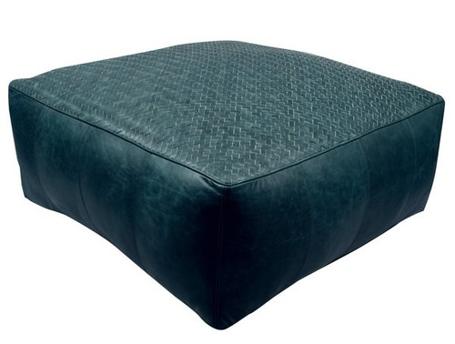 32 inch low square leather upholstered woven floor cushion in teal green finish