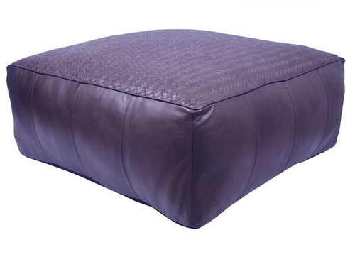 32 inch low square leather upholstered woven floor cushion in dark brown finish