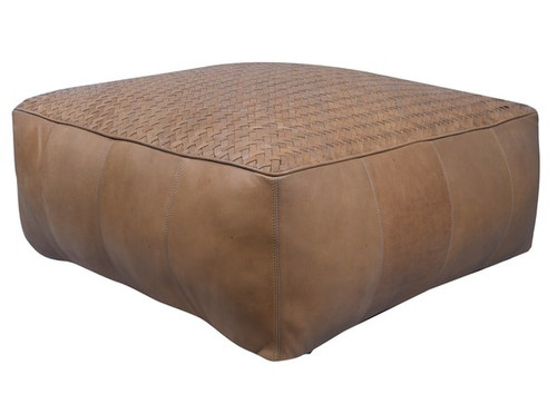 32 inch low square leather upholstered woven floor cushion in natural light brown finish