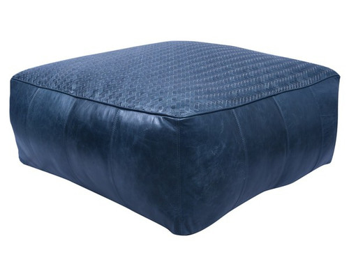 32 inch low square leather upholstered woven floor cushion in dark blue finish