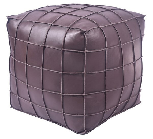 18 inch square leather upholstered patchwork pouf or ottoman in dark brown finish